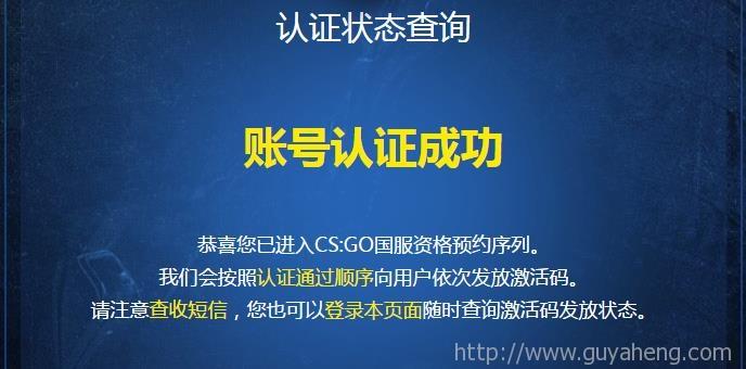 CSGO荣耀认证成功