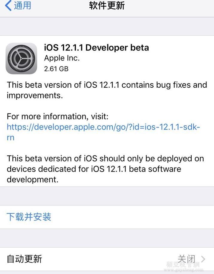 苹果iOS 12.1.1开发者预览版beta推送