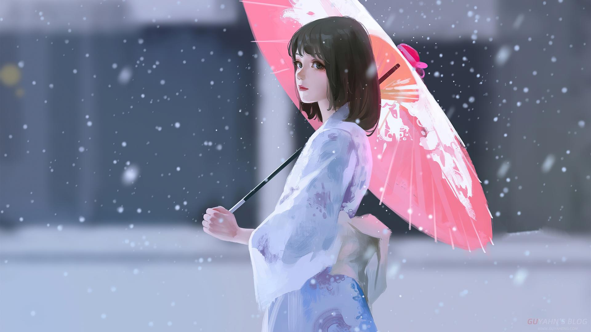 撑伞的女孩壁纸_Guyahn顾亚恒博客
